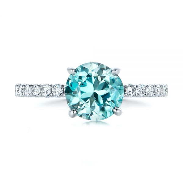 Custom Blue Zircon and Diamond Engagement Ring - Top View -  102318 - Thumbnail
