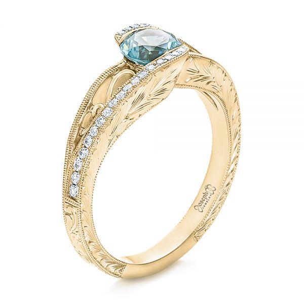 14k Yellow Gold Custom Blue Zircon And Diamond Engagement Ring 100645 Seattle Bellevue Joseph Jewelry