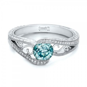 Custom Blue Zircon and Diamond Engagement Ring