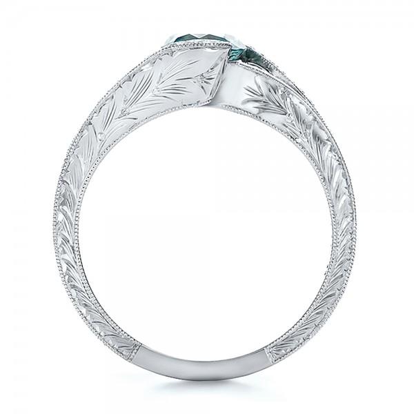 Custom Blue Zircon and Diamond Engagement Ring - Finger Through View