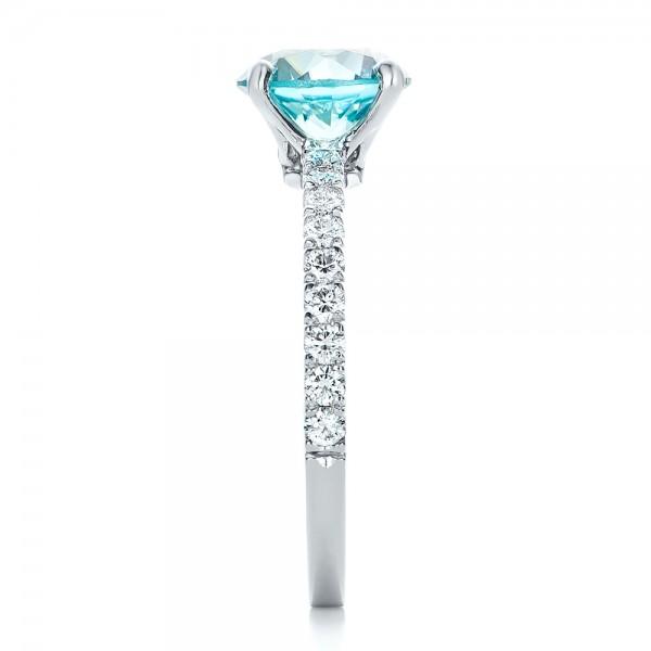Custom Blue Zircon and Diamond Engagement Ring - Side View