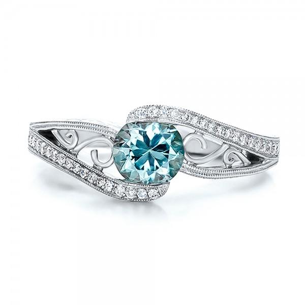 custom blue zircon and diamond engagement ring top view - Custom Wedding Ring