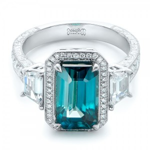 Custom Blue Zircon and Diamond Halo Engagement Ring