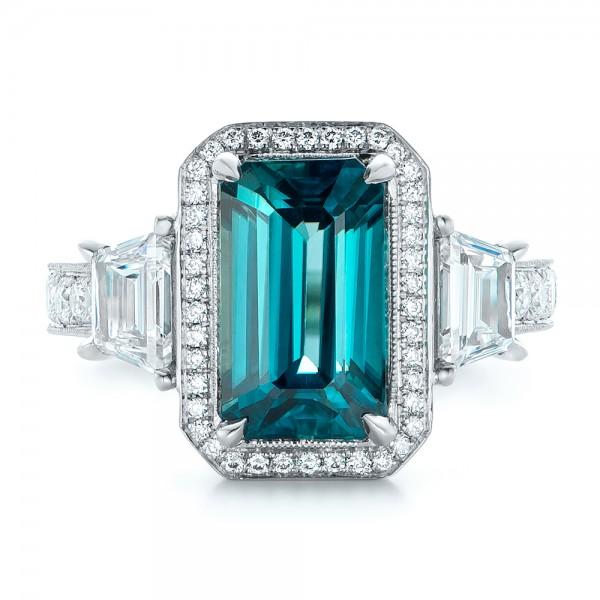 Custom Blue Zircon and Diamond Halo Engagement Ring - Top View