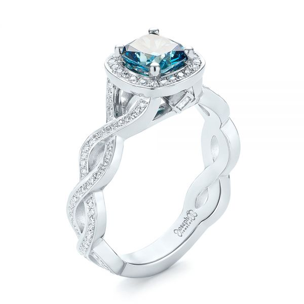 Platinum Custom Blue And White Diamond Halo Engagement Ring - Three-Quarter View -
