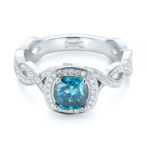 Platinum Custom Blue And White Diamond Halo Engagement Ring - Flat View -