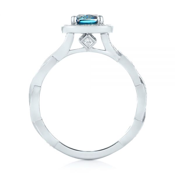 Platinum Custom Blue And White Diamond Halo Engagement Ring - Front View -