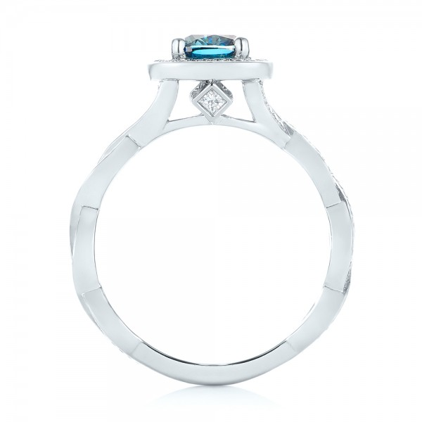 Custom Blue and White Diamond Halo Engagement Ring - Finger Through View