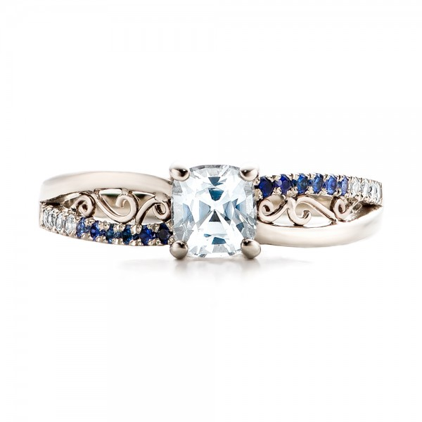 Custom Blue and White Sapphire Engagement Ring - Top View
