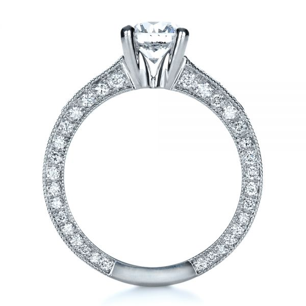 18k White Gold Custom Bright Cut Diamond Engagement Ring - Front View -