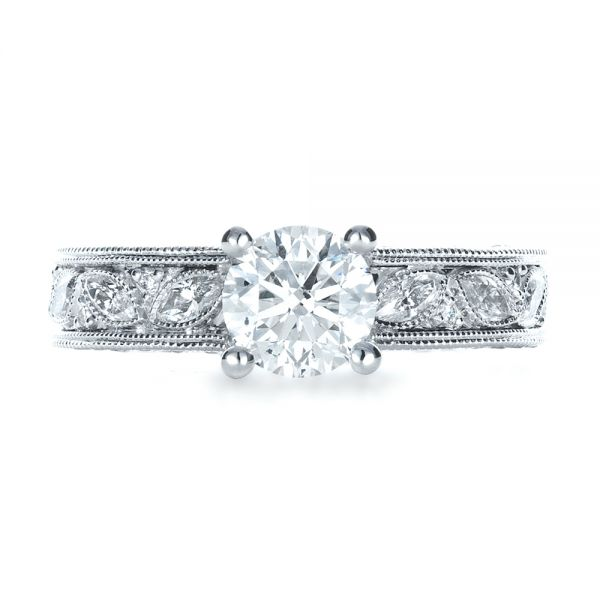 18k White Gold Custom Bright Cut Diamond Engagement Ring - Top View -