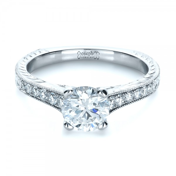 Custom Bright Cut Diamond Engagement Ring