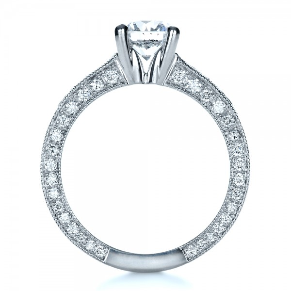 Custom Bright Cut Diamond Engagement Ring - Finger Through View