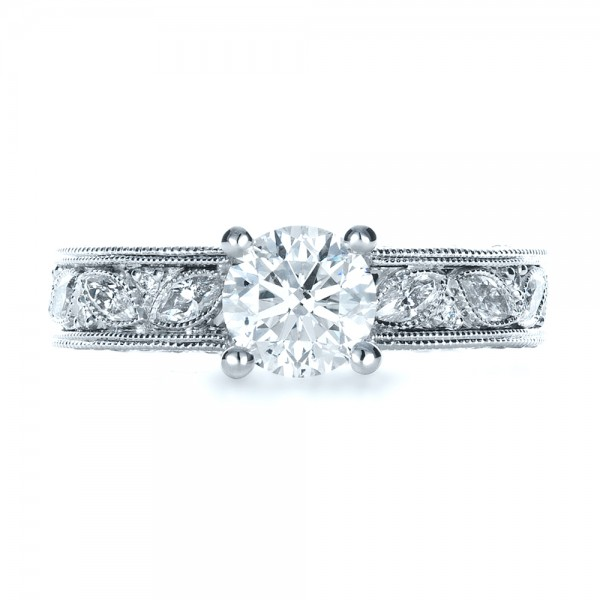 Custom Bright Cut Diamond Engagement Ring - Top View