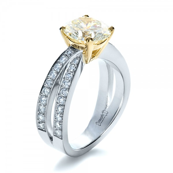 Custom Canary Diamond Engagement Ring
