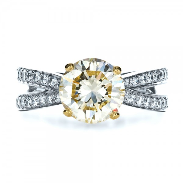 Custom Canary Diamond Engagement Ring - Top View