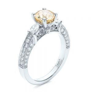 Custom Champagne Diamond Engagement Ring - Image