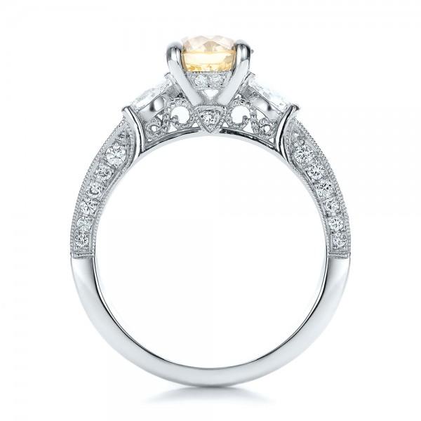 Custom Champagne Diamond Engagement Ring - Finger Through View