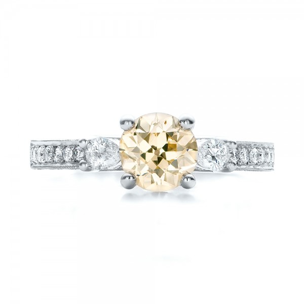 Custom Champagne Diamond Engagement Ring - Top View