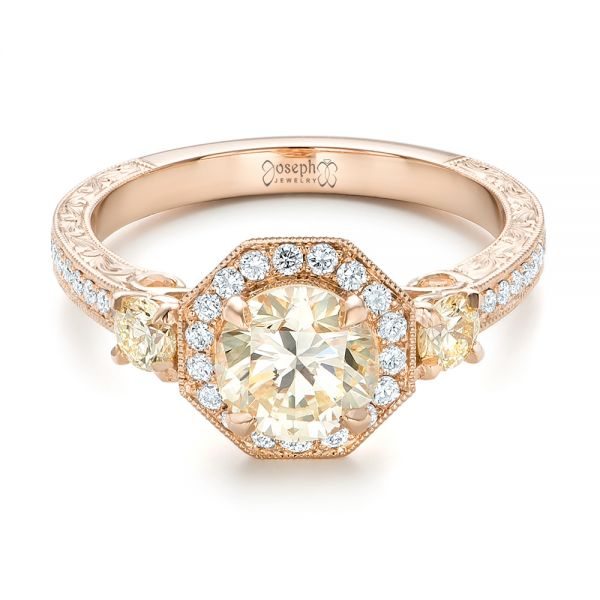 14k Rose Gold Custom Champagne Diamonds And Diamond Halo Engagement Ring - Flat View -