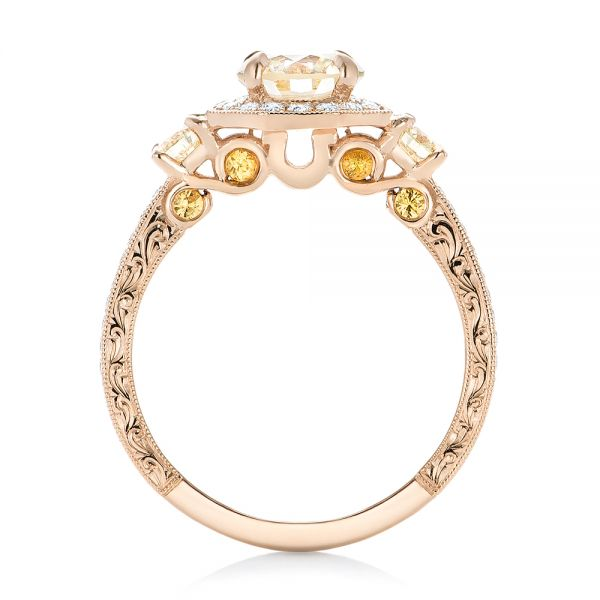14k Rose Gold Custom Champagne Diamonds And Diamond Halo Engagement Ring - Front View -