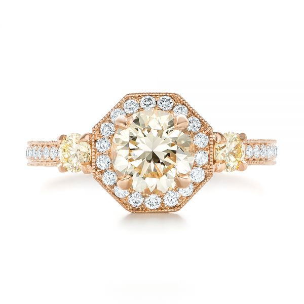 14k Rose Gold Custom Champagne Diamonds And Diamond Halo Engagement Ring - Top View -