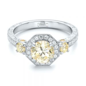 Custom Champagne Diamonds and Diamond Halo Engagement Ring