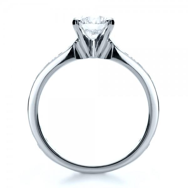 Custom Channel Set Diamond Engagement Ring - Finger Through View