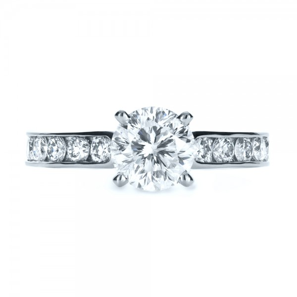 Custom Channel Set Diamond Engagement Ring - Top View