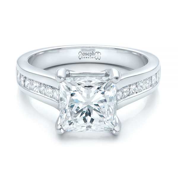 Custom Channel Set Princess Cut Diamond Engagement Ring - Flat View -  101107 - Thumbnail