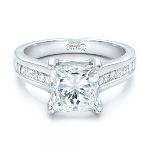 Custom Channel Set Princess Cut Diamond Engagement Ring