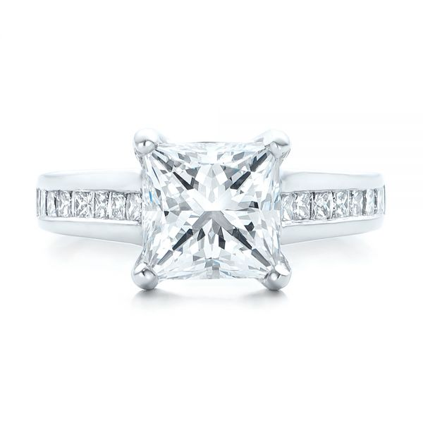 Custom Channel Set Princess Cut Diamond Engagement Ring - Image