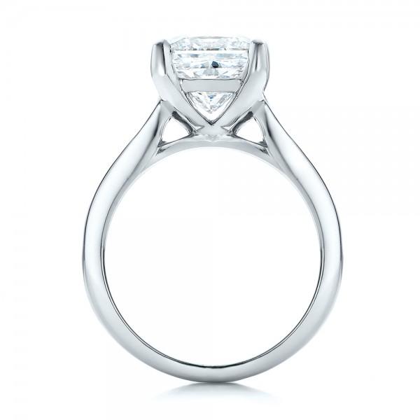 Custom Channel Set Princess Cut Diamond Engagement Ring - Finger Through View