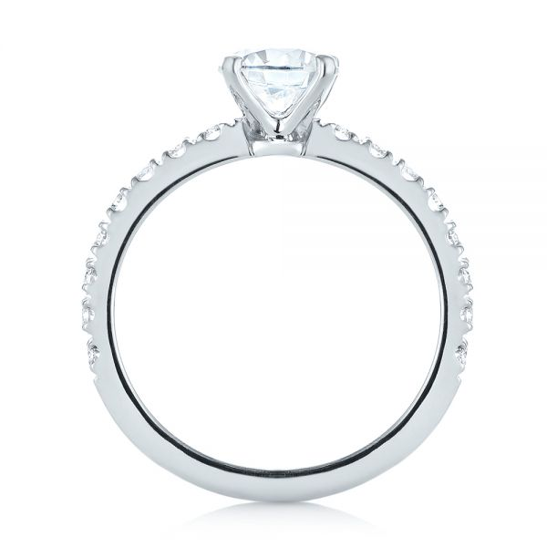 18k White Gold Custom Classic Engagement Ring - Front View -