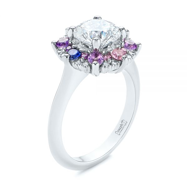 Custom Cluster Amethyst, Sapphire, and Diamond Engagement Ring