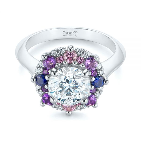 Custom Cluster Amethyst, Sapphire, and Diamond Engagement Ring - Flat View -  104823 - Thumbnail