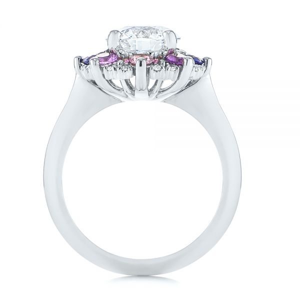Custom Cluster Amethyst, Sapphire, and Diamond Engagement Ring - Front View -  104823 - Thumbnail