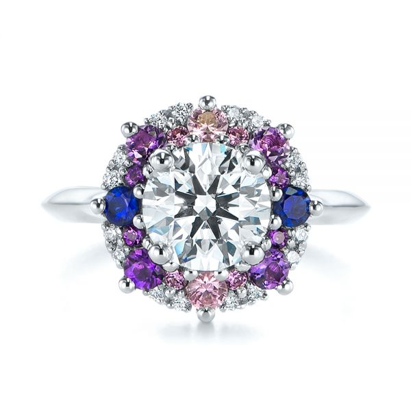 Custom Cluster Amethyst, Sapphire, and Diamond Engagement Ring - Top View -  104823 - Thumbnail