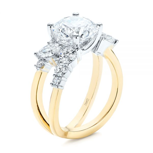 Custom Cluster Diamond Two-tone Engagement Ring - Image