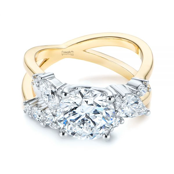 14k Yellow Gold And Platinum Custom Cluster Diamond Two-tone Engagement Ring - Flat View -  105803 - Thumbnail
