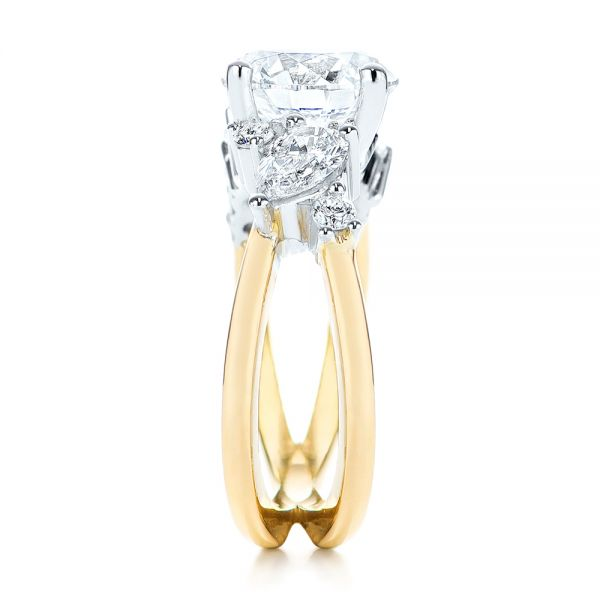 14k Yellow Gold And Platinum Custom Cluster Diamond Two-tone Engagement Ring - Side View -  105803 - Thumbnail