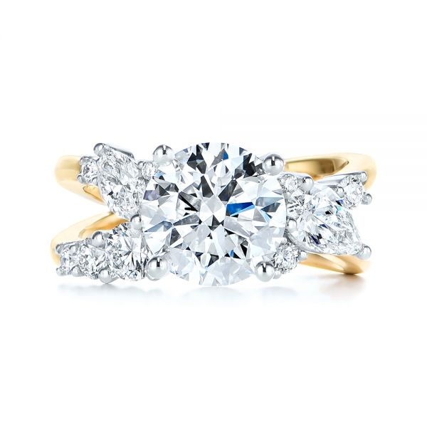 14k Yellow Gold And Platinum Custom Cluster Diamond Two-tone Engagement Ring - Top View -  105803 - Thumbnail
