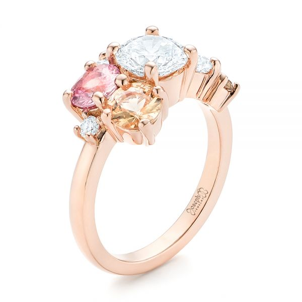 14k Rose Gold Custom Cluster Set Diamond And Sapphire Engagement Ring - Three-Quarter View -