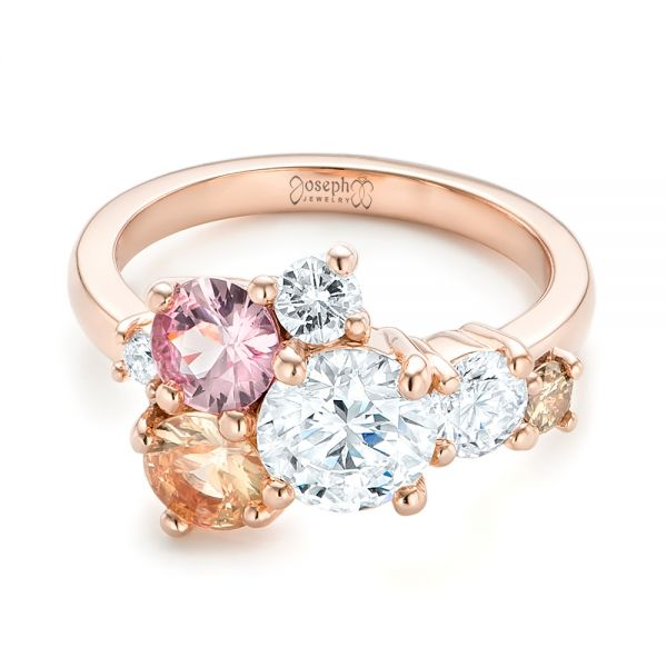 14k Rose Gold Custom Cluster Set Diamond And Sapphire Engagement Ring - Flat View -