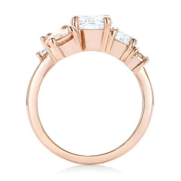 14k Rose Gold Custom Cluster Set Diamond And Sapphire Engagement Ring - Front View -
