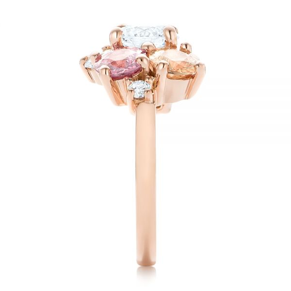 14k Rose Gold Custom Cluster Set Diamond And Sapphire Engagement Ring - Side View -