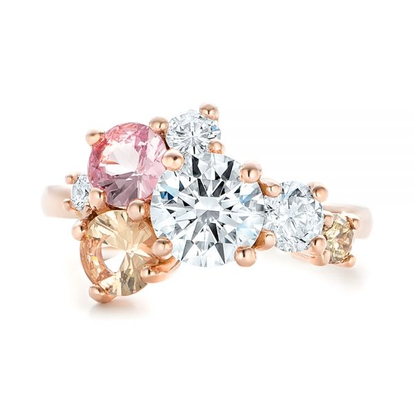 14k Rose Gold Custom Cluster Set Diamond And Sapphire Engagement Ring - Top View -