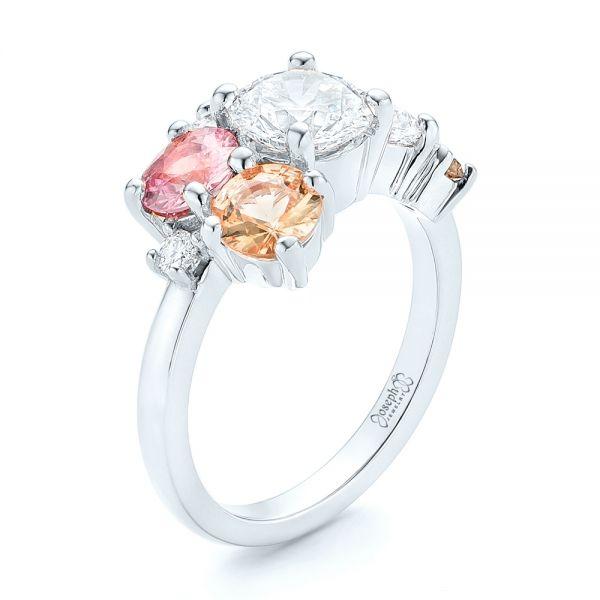 Engagement Rings Jewellery Quarter: 18k White Gold Custom Cluster Set Diamond And Sapphire
