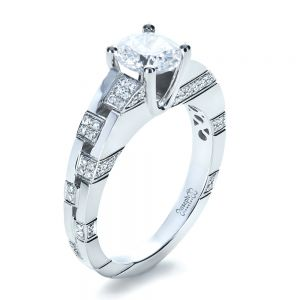 Custom Contemporary Diamond Engagement Ring - Image