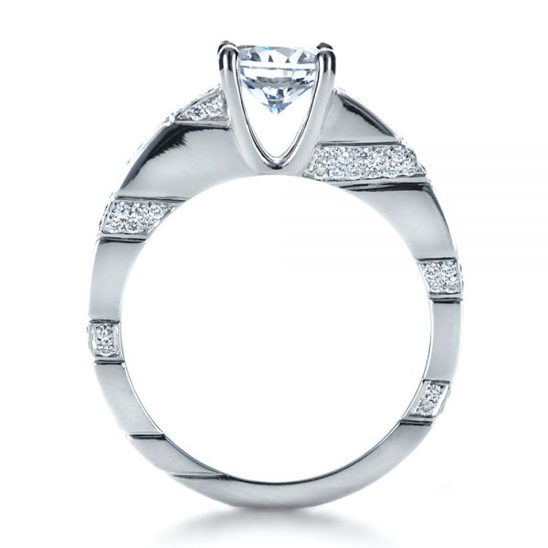 Custom Contemporary Diamond Engagement Ring - Front View -  1218 - Thumbnail